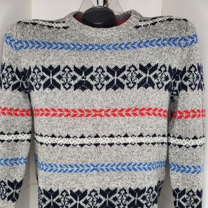 American Eagle Oversized Gray Fair Isle Sweater M